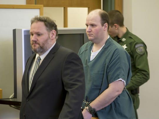 Matthew Webster, right, walks into court with his lawyer Rory Malone during his sentencing hearing in Vermont Superior Court in St. Albans on Friday.
