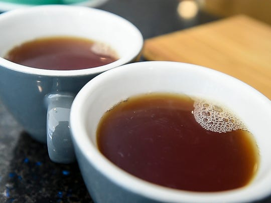 Two cups of cascara at Onyx Tonics in Burlington on