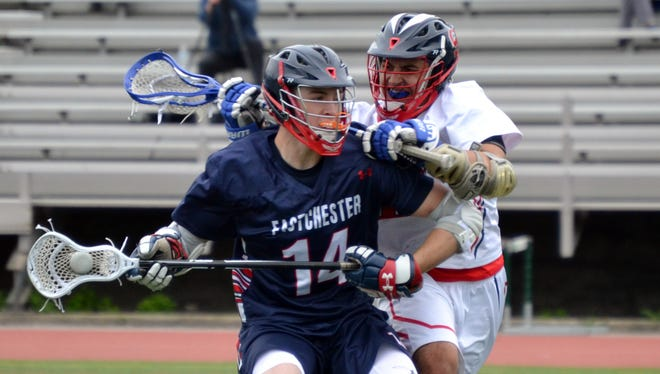 Eastchester midfielder Nick Milo attempts to settle the ball in the first quarter of the Eagles' 9-7 win at Stepinac on Thursday.