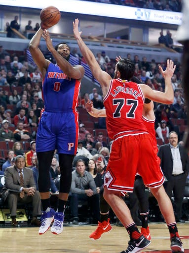 Detroit Pistons' Andre Drummond (0) shoots over Chicago