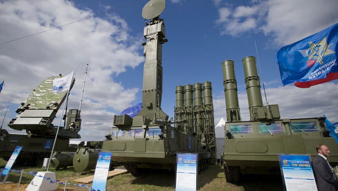 In this Aug. 27, 2013, file photo, Russian air defense system missile system Antey 2500, or S-300 VM, is on display at the opening of the MAKS Air Show in Zhukovsky outside Moscow, Russia. The Russian military said Tuesday it had deployed the S-300 air defense missile systems to Syria to protect a Russian navy facility in the Syrian port of Tartus and Russian navy ships in the area.