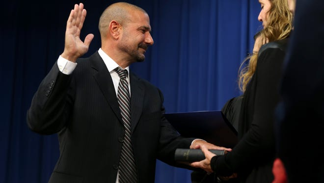 Rocky Hanna is sworn in as Leon County School's new school superintendent during a ceremony Tuesday.