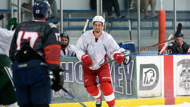 Red Wings forward Dylan Larkin has become a regular participant in Steven Oleksy's summer hockey league at Mount Clemens Ice Arena.