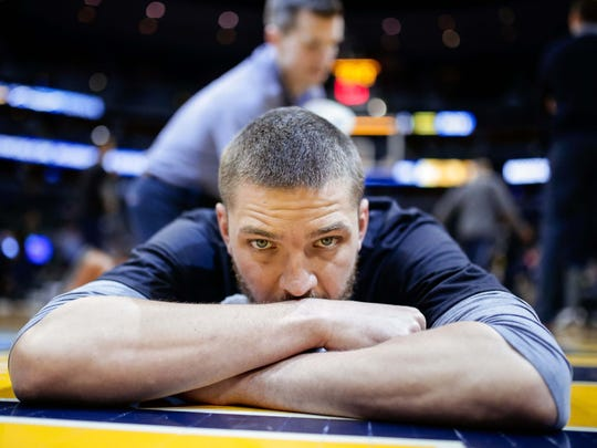 Feb 26, 2017; Denver, CO, USA; Memphis Grizzlies Chandler Parsons stretches before the game against the Denver Nuggets at the Pepsi Center. Mandatory Credit: Isaiah J. Downing-USA TODAY Sports