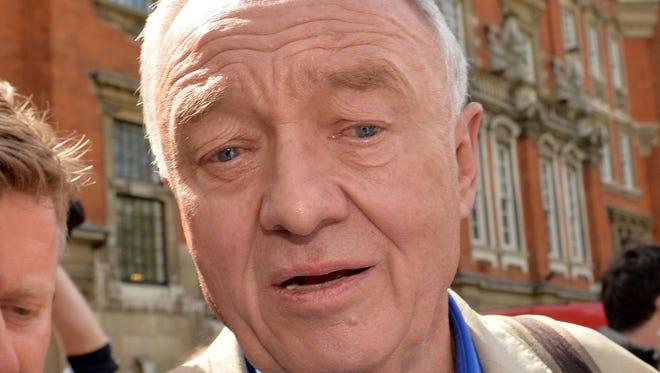 Former mayor of London Ken Livingstone is surrounded media outside Millbank in Westminster, London, Thursday April 28, 2016.