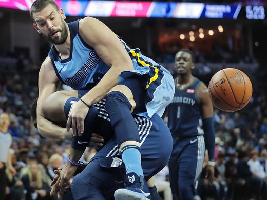 Memphis Grizzlies center Marc Gasol comes down hard