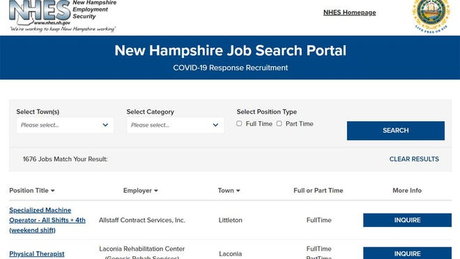 The main page of the new jobs portal created by New Hampshire Employment Security as a response to the COVID pandemic to help match up employers with potential employees.