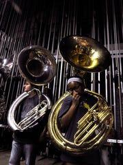Sophomore tuba players Mason Duebner (left) and Ashanti