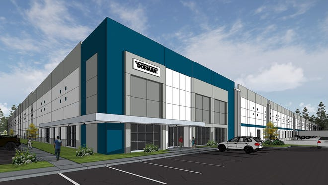 A rendering of the new Dorman Products production and distribution facility, to be built in Robertson County.