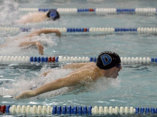 Dallastown's Spencer Hill, shown during a recent meet, has his name in several places on the YAIAA top times list.