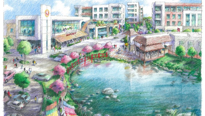 A rendering shows the proposed Asian Village in Novi, which would include retail, services, entertainment venues, restaurants, a Japanese market and housing.