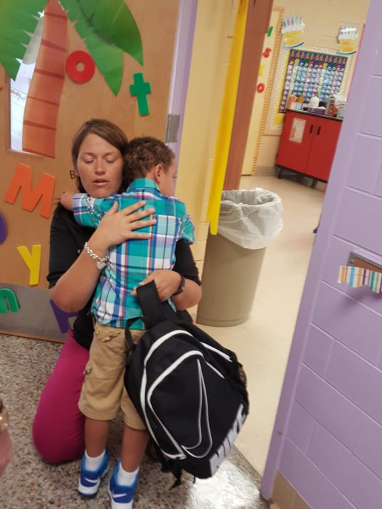 ... on the first day of school. (Photo: Allison Ross/The Courier-Journal