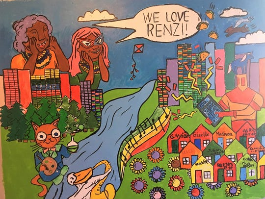 A mural inside Renzi Education and Art Center.