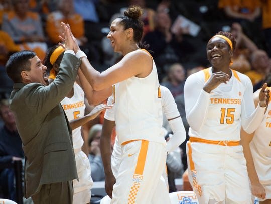 Tennessee's Mercedes Russell celebrates with Michael