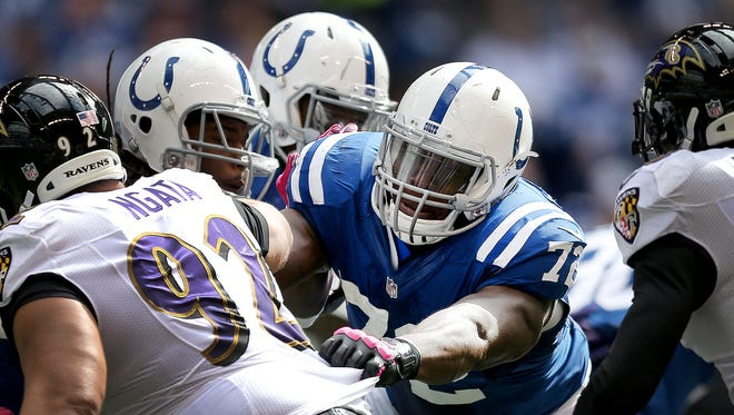 Colts' Jonotthan Harrison was benched in favor of Khaled Holmes on Sunday.