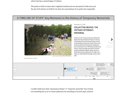 An interactive timeline in The Story of the Stuff walks the viewer through the gifts and donations that have shown up after various mass tragedies in the U.S. in recent years.