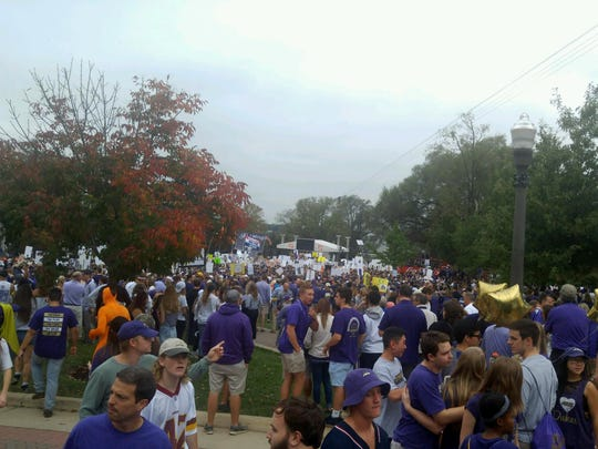 Huge crowd at JMU today for ESPN's College GameDay. The ESPN crew also was at JMU two years ago.