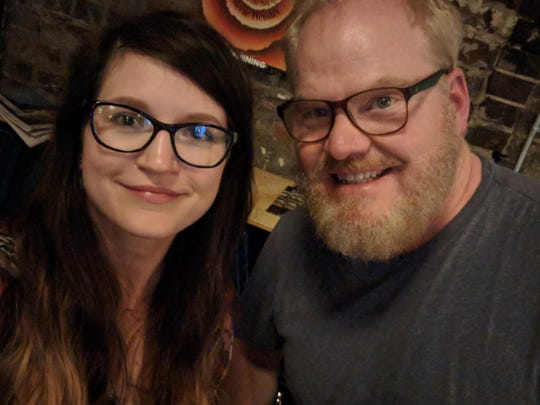 Megan Gerlach (left) takes a selfie with stand-up comedian Jim Gaffigan at Maple Hall in Knoxville on Tuesday. Other than John Mulaney, Gerlach said, Gaffigan is her favorite comedian.