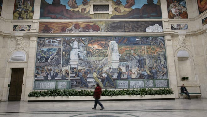 The Detroit Institute of Arts returned as the center of attention in Detroit's bankruptcy trial as its executive vice president testified about the museum's value as a cultural asset to metro Detroit. Photo shows part of the DIA's murals painted by Diego Rivera.