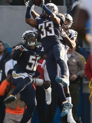 Los Angeles Chargers free safety Tre Boston (33) intercepts a pass intended form Oakland Raiders wide receiver Johnny Holton during the first half of an NFL football game, Sunday, Dec. 31, 2017, in Carson, Calif. (AP Photo/Kelvin Kuo)