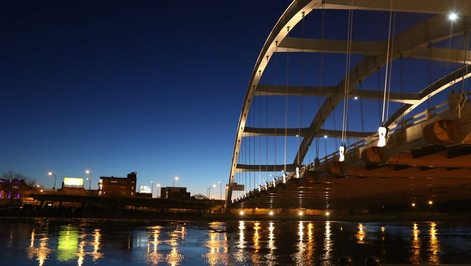 Downtown Rochester as day breaks looking at the Frederick Douglass-Susan B. Anthony Bridge.