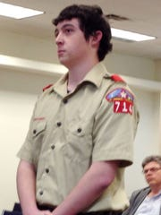 Eagle Scout candidate Michael Goode talks about his Eagle Scout Project with the Silver City Town Council on Tuesday.
