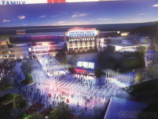 A conceptual rendering from January 2017 depicts a new American Family Insurance Amphitheater, tentatively set to replace the current amphitheater on the Summerfest grounds in 2020. Milwaukee firm Eppstein Uhen Architects was awarded the design contract this month. More detailed renderings will follow.