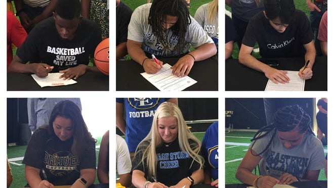 From top left, clockwise: Tarrence Gaines, Jordin Hunter, Cameron Wright, Keanu Hall, Ashlyn Voight and Hannah Koch.