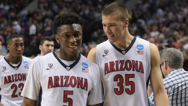 Arizona's Kaleb Tarczewski (right) and Stanley Johnson (left) are longtime friends despite being two years apart in school.