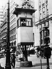 The first traffic lights, at the time called Street