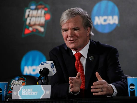 NCAA President Mark Emmert speaks during a news conference at the Final Four NCAA college basketball tournament, Thursday, March 29, 2018, in San Antonio. (AP Photo/David J. Phillip)