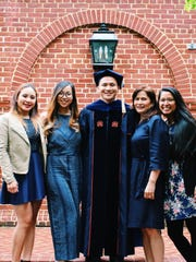 Mark Yu graduated from the University of Virginia with a Ph.D. in Educational Psychology and Applied Developmental Science on May 20, 2018. At  graduation, he was awarded the prestigious Edgar F. Shannon Award an award given to the best student in each graduating class. Mark is a 2007 graduate of Simon Sanchez High School and 2011 graduate of the University of Guam as a Merit Scholar. He received a Masters Degree from the University of Pennsylvania in 2013. Mark will attend University of California, Irvine as a National Science Foundation Postdoctoral Fellow a very selective and prestigious fellowship awarded to promising early-career scientists in the United States. Pictured from left: Reena Ericsson (Sister), Mary Ross Whitfield (Sister), Mark, Marissa Yu (Mother) and Roxanne Yu (Sister).