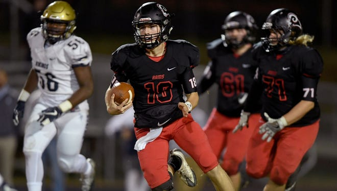 Junior quarterback Will Watts (18) and the Hillcrest Rams will host Gaffney in a Class AAAAA third-round playoff game Friday night at Chandler Stadium.