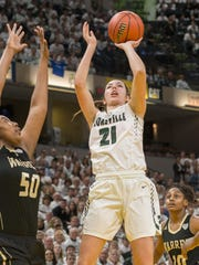 Zionsville forward Megan Sheridan (21) is averaging 11.3 points and 8.5 rebounds this season.