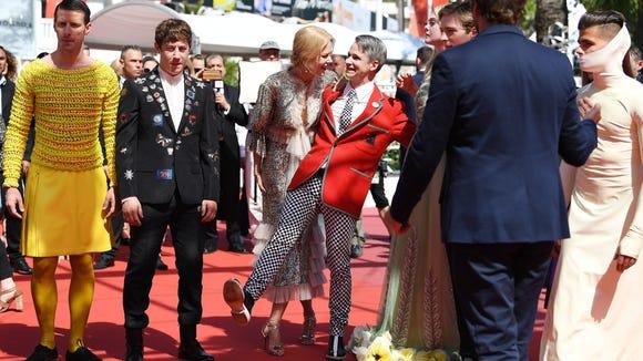 Alex Sharp (in black suit), Nicole Kidman, director