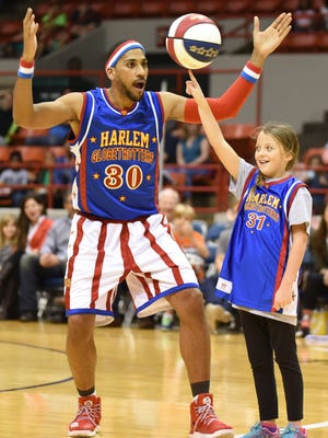 Zeus McClurkin is pictured at a stop on the Harlem Globetrotters' 2017 tour.