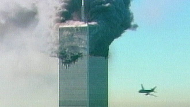 An aircraft is seen as it is about to fly into the World Trade Center in New York in this image made from television on Sept. 11, 2001. The aircraft was the second to fly into the center's twin towers that morning.