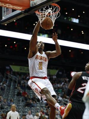Hawks center Dwight Howard (8) will welcome his former Orlando Magic team to Atlanta.