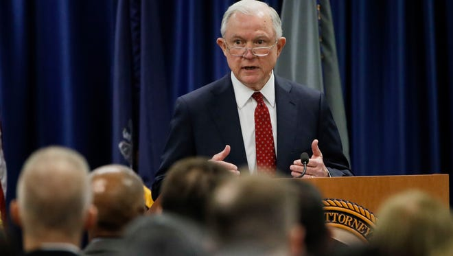Attorney General Jeff Sessions speaks at the U.S. Attorney's Office in Philadelphia on Friday