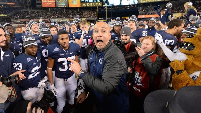 James Franklin and Penn State celebrate their Pinstripe Bowl civtory over Boston College.