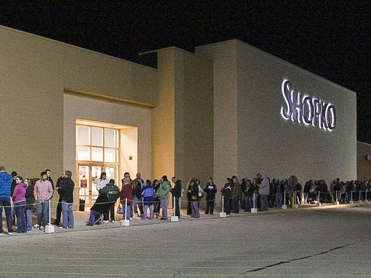 Long lines greeted shoppers outside Shopko during a
