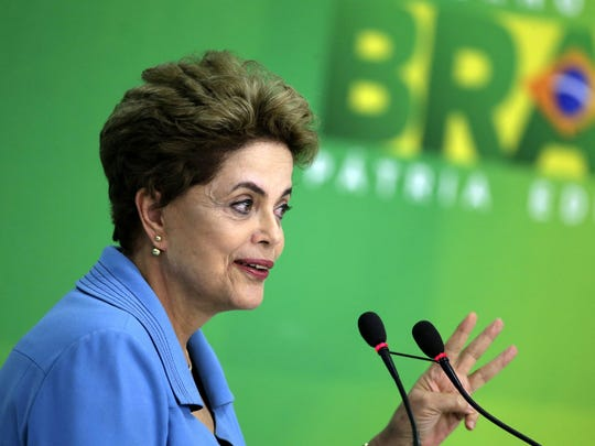 Brazilian President Dilma Rousseff speaks during a