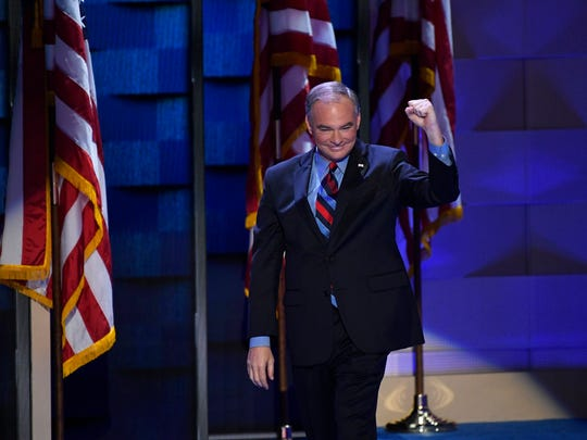 Democratic Nominee for Vice President Tim Kaine walks on stage during the 2016 Democratic National Convention at Wells Fargo Center.