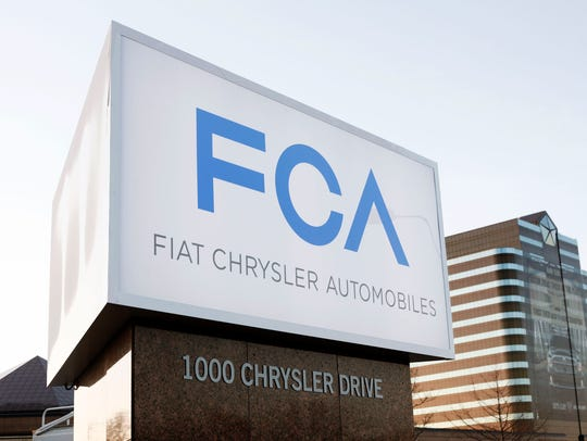The Fiat Chrysler Automobiles Group sign at the Chrysler