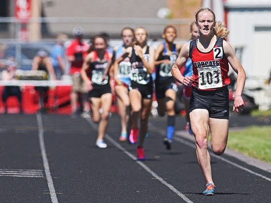 Brookings' Ellie Abraham runs in the girls 800-meter run during the South Dakota Class AA State Track & Field Meet Friday, May 26, 2017, at the Brandon Valley High School in Brandon, S.D.