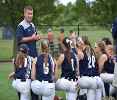 Chambersburg coach Chris Skultety talks with his team after a PIAA Class 6A softball quarterfinal game against Perkiomen Valley on Thursday, June 8, 2017 at Lebanon Valley College. The Trojans won 3-0.