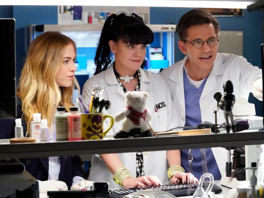 Pauley Perrette, center, seen with 'NCIS' co-stars Emily Wickersham and Brian Dietzen, played brilliant forensic scientist Abby Sciuto for 15 seasons on the hit CBS procedural drama.