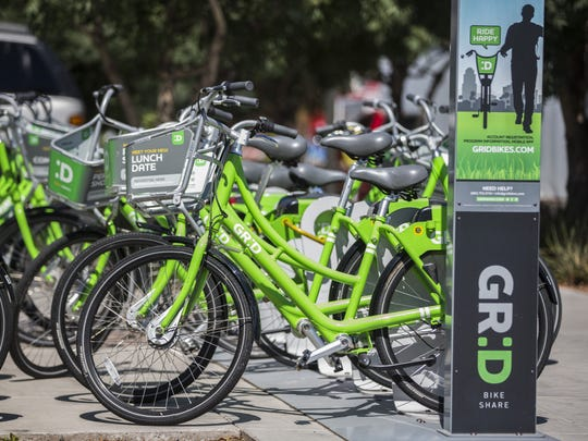 Phoenix ride sharing bikes sit for use downtown on