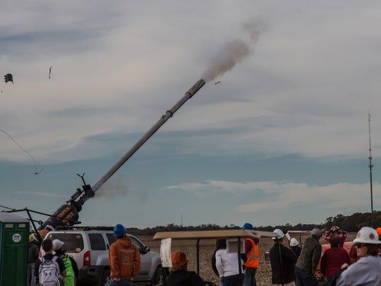 When the air cannon Pumpkin Reaper shot a pumpkin Sunday