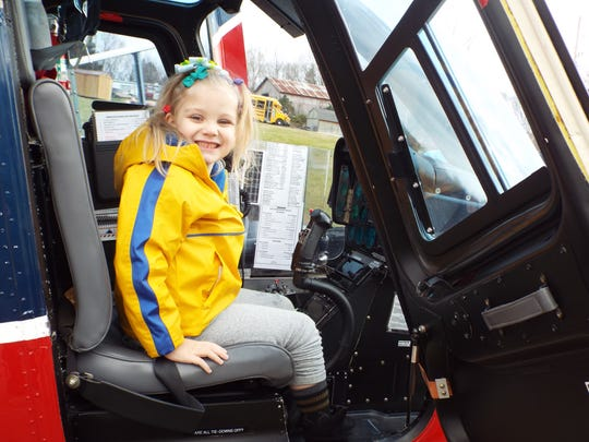 Katelyn Morphew in an Air Evac 37 helicopter at Highland